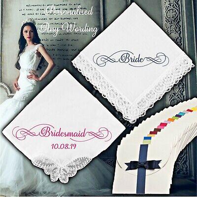 3 PERSONALISED WHITE HANDKERCHIEF 100/% COTTON NAME DATE WEDDING BRIDE LADIES MEN