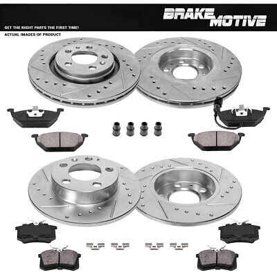 Front Drilled Slotted Brake Rotors and Ceramic Pads 2008-2009 Volkswagen Jetta