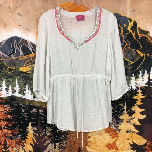 Free People Embroidered Metallic Boho Peasant Top