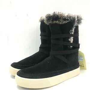 NEW-TOMS-Black-Vista-Boots-Faux-Fur-Suede-Waterproof-Size-UK-6-5-EU-39-5-511056