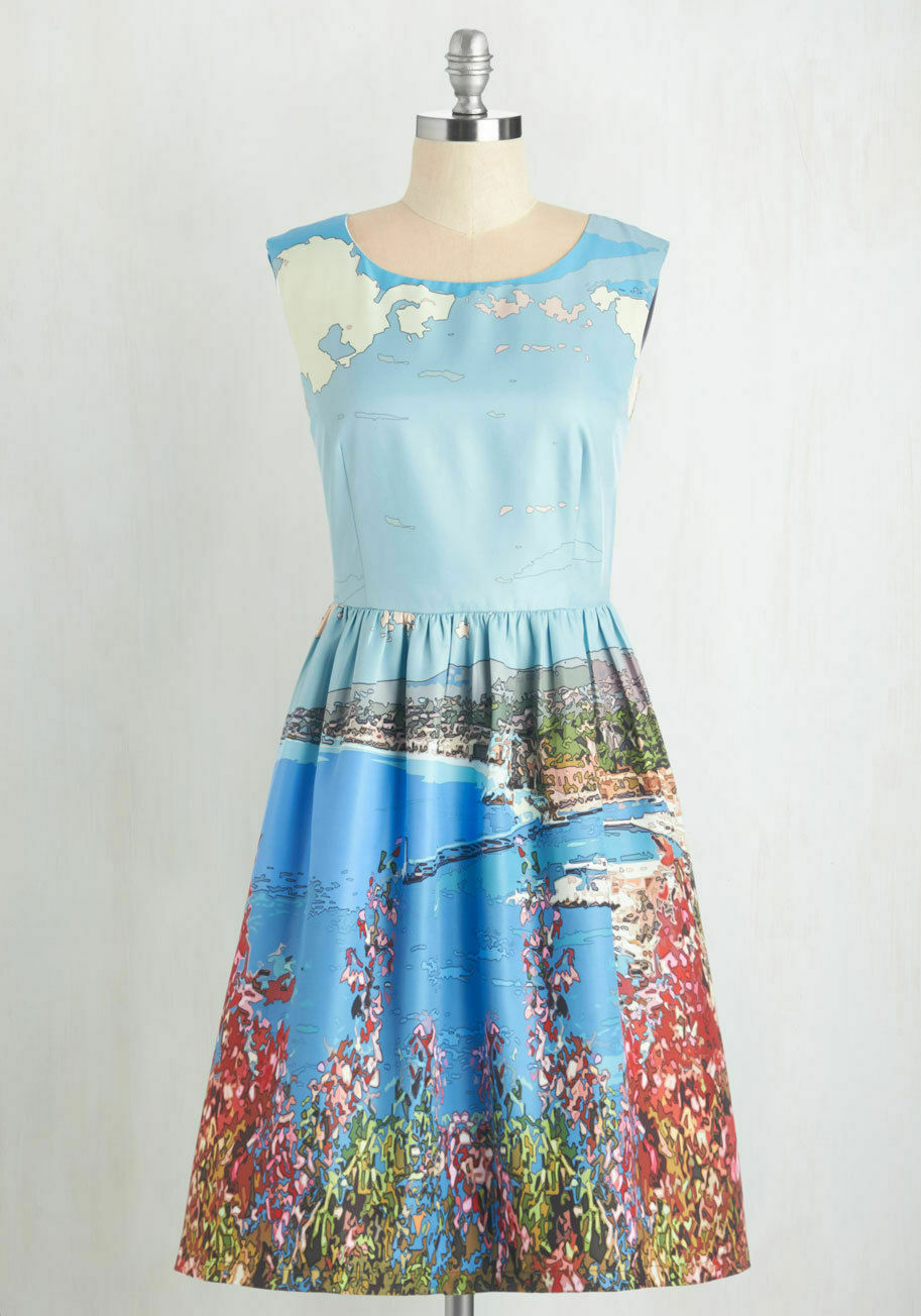 NWT NEW Dear Creatures Modcloth A Day in the Shade Scenic Dress in Harbor MEDIUM