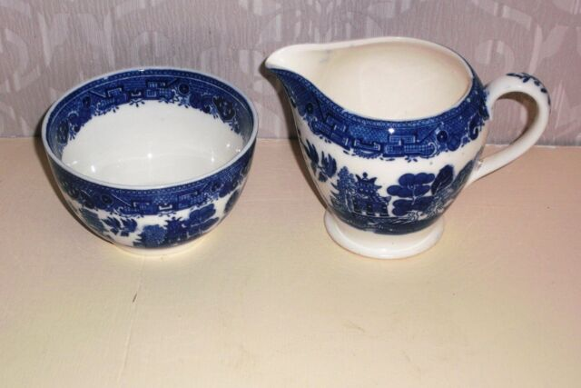 Victoria Porcelain WILLOW Sugar Bowl & Milk Jug.