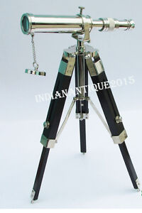 """Nautical Collectible 9"""" Chrome Finish Telescope With Black Tripod Stand"""