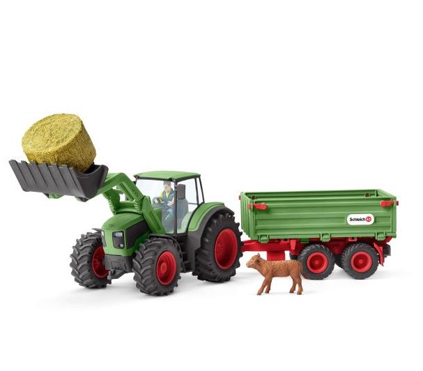 Schleich 42379 Traktor mit Anhänger Bauernhof Landwirtschaft Tiere Stroh