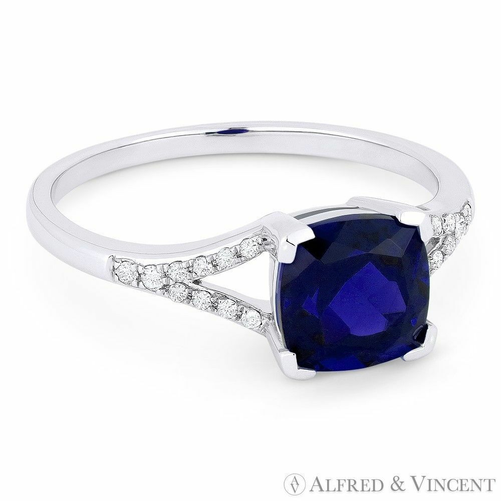 1.85 ct Cushion Cut blueee Lab-Made Sapphire & Diamond 14k White gold Promise Ring