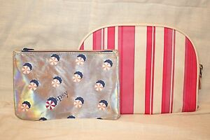 IPSY-Iridescent-amp-Bonus-Pink-Stripes-Cosmetic-Bags-Organizers-VERY-GOOD
