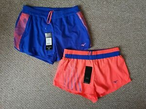 2 X Bnwt Femme Mizuno Running Gym Fitness Shorts-taille L-afficher Le Titre D'origine Fabrication Habile