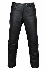 Pantalon-cuir-zimmermann-moteur-Cuissard-Biker-peau-de-vache-5-poches-Cuir-Jeans-Noir