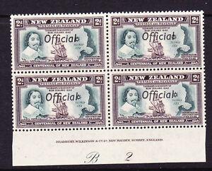 NEW ZEALAND 1940 2d CENTENNIAL OFFICIAL PLATE BLK 4 #B2 MNH