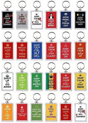 KEYRING - KEEP CALM AND.... (Various Designs) - Large Keyring