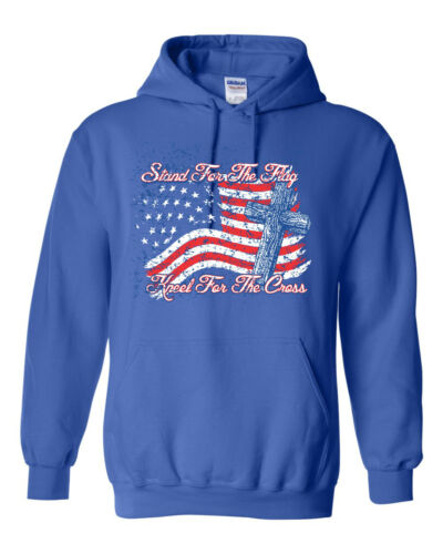 Stand for the Flag Kneel for Cross American Flag Unisex Hoodie Sweatshirt 1692
