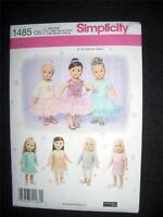 """Simplicity 1485 Pattern - 18"""" 46CM Doll Clothes Top Skirt Dress Tunic Bodice"""