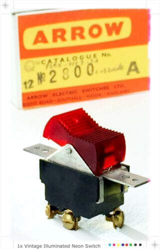 SPST COOL VINTAGE 1960s ILLUMINATED NEON ROCKER SWITCH 10a 250v NEW OLD STOCK