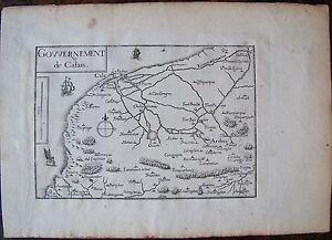 Ouvert D'Esprit Carte Gouvernement De Calais . Par Tassin. Carte Originale De 1633. Dimensions Prix ModéRé