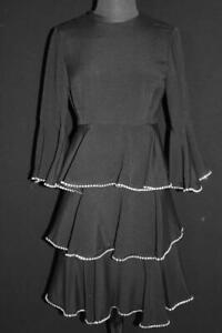 EXCEPTIONAL-COUTURE-VINTAGE-1960-039-S-BLACK-RHINESTONE-TRIMMED-RAYON-DRESS-SIZE-6