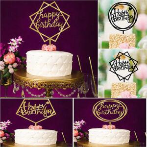 HOME-LOVE-HAPPY-BIRTHDAY-ORO-cake-topper-carta-Acrilico-Festa-Decorazione-Forniture