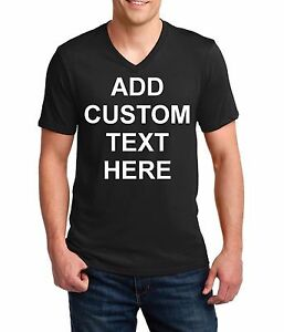 Men-039-s-V-neck-Custom-Personalized-T-Shirts-Your-Own-Text-Business-Name-T-Shirt