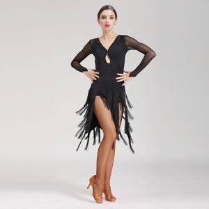 f7108cb61 Details about Latin Ballroom Dance Dress Modern Salsa Waltz Standard Long  Dress#NN076 Black