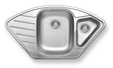 Eckbecken Spüle Edelstahl Spülbecken Küchenspüle Edelstahlspüle mit Überlauf