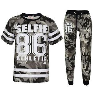 33c72bc389 Details about Boys Top Kids Designer s  Selfie 86 Camouflage T Shirt    Trouser Set 7-13 Years