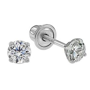 Genuine Diamond Child/Baby Stud Screw Back Earrings in 14k Solid White Gold