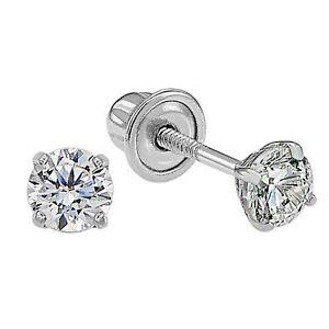 Dainty Genuine Diamond Stud Screw Back Earrings in 14k Solid White Gold