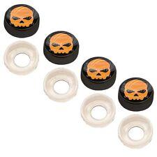 4 Black Custom License Plate Frame Screw Snap Caps Covers Orange Skull B