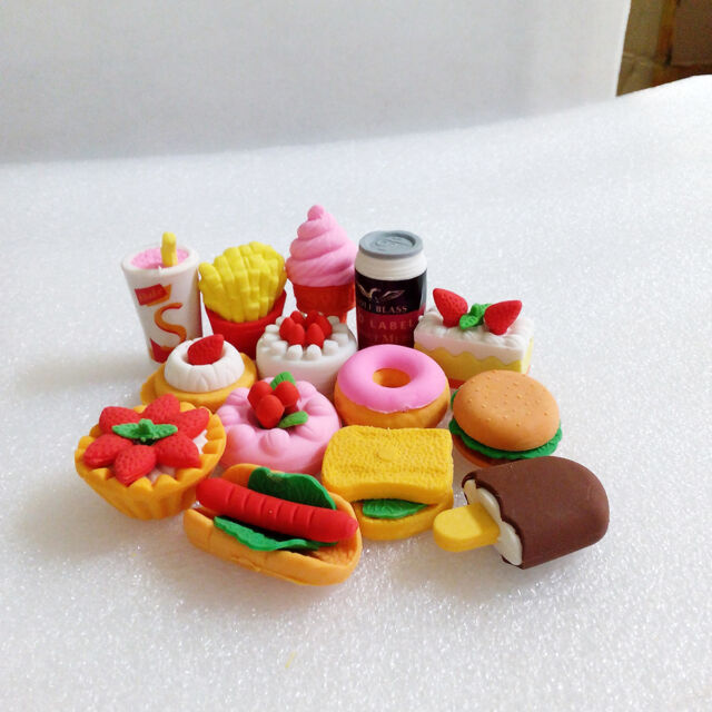 Funny Cute Food Rubber Pencil Eraser Set Stationery Novelty Children Party Gift