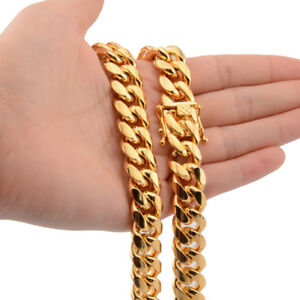 Heavy-30-034-Mens-Miami-Cuban-Link-Chain-Necklace-18k-Gold-Plated-Stainless-Steel