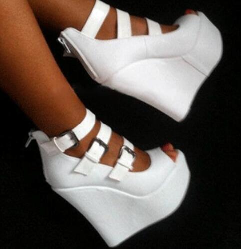 Women Gladiator Peep Toe Platform Wedges High Heeled Sandals Buckle Strap Shoes