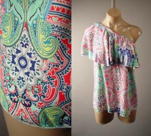 One-Shoulder-Ruffle-Paisley-Ethnic-Scarf-Pattern-60s-Gypsy-Top-270-mv-Blouse-S-L