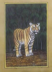 Hand-Painted-Old-Paper-Tiger-Miniature-Painting-India-Tradition-Art-Finest-Paint