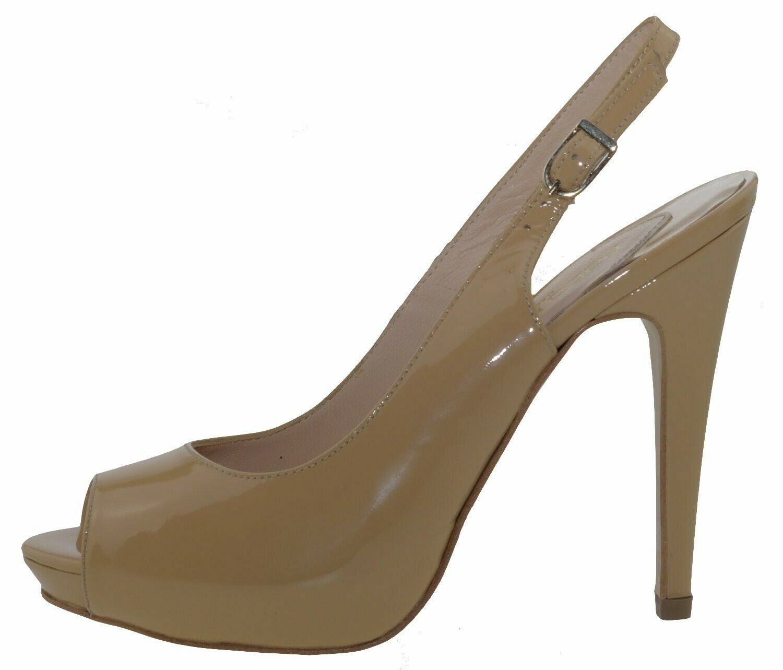 Paco Herrero 3054 Peep Toes Court shoes Patent Leather Beige 169040