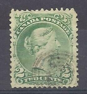 Canada-Scott-24-2c-Green-Large-Queen-EF-used-with-light-cancel-Cats-130