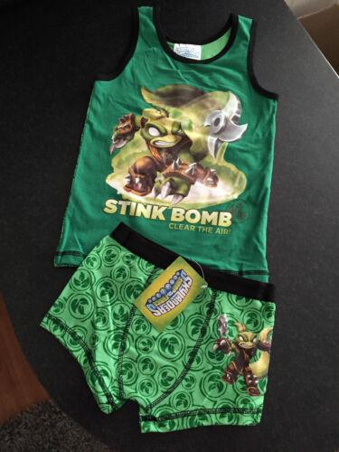 BNWT Boys Sz 6-8 Skylanders Print Underwear Singlet//Tank /& Trunk Undies Set