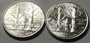 2001 P and D 2 Coin North Carolina Washington Statehood Quarters Set