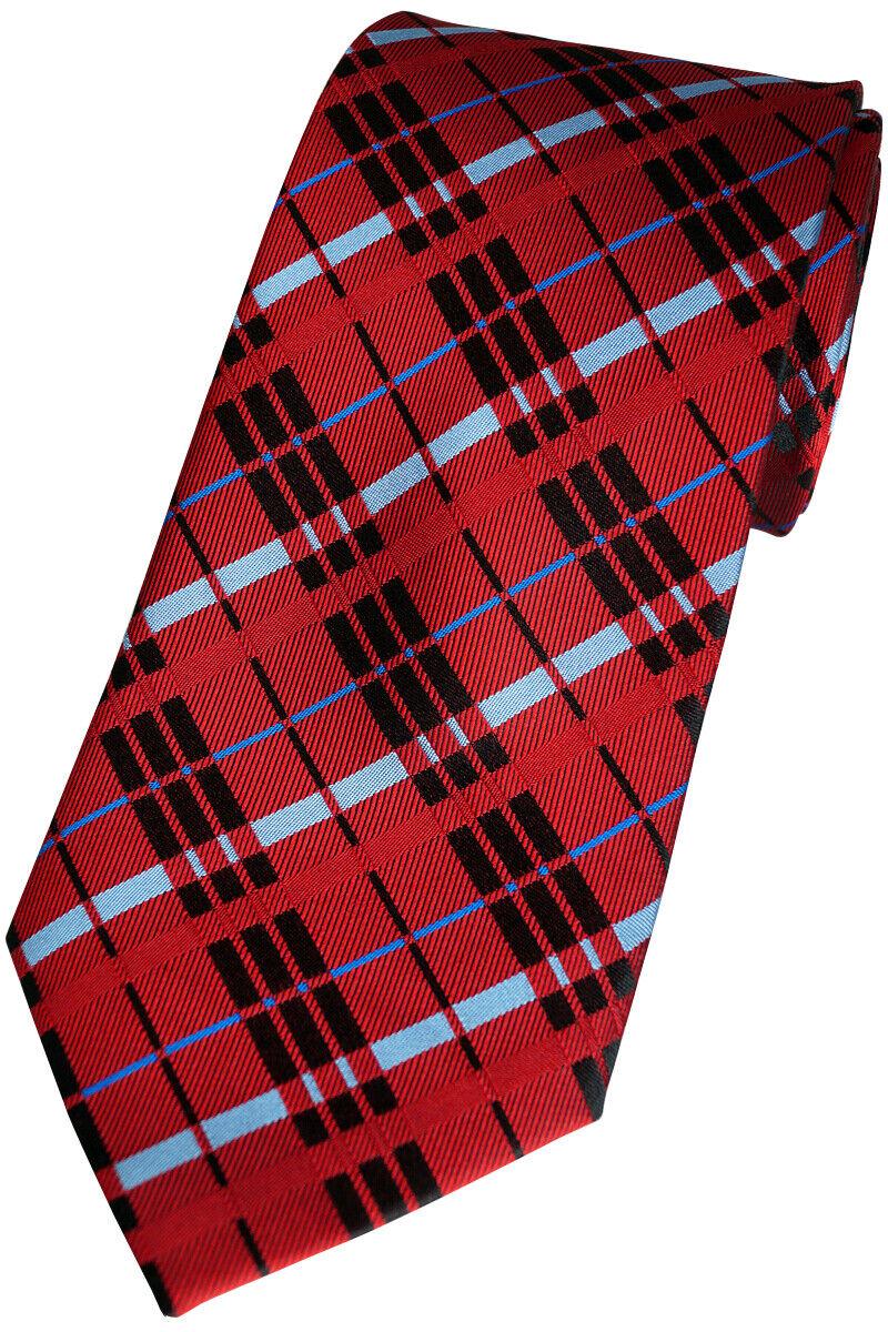 Handmade Luxury Mens Silk Tie, Check, MAROON, K 241.1