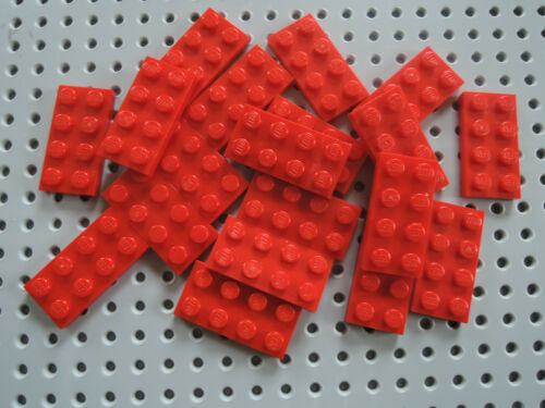 LEGO 20 x flache Platte Bauplatte 3020 rot 2x4 Noppen