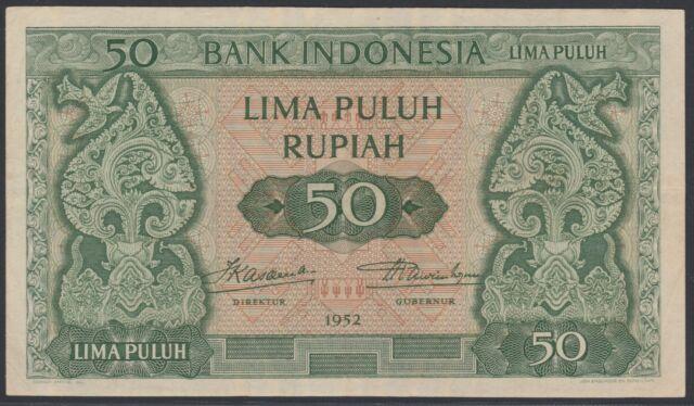 Indonesia 50 rupiah 1952 - JEZ, VF+, Pick 45