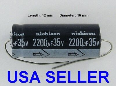 5pcs- 1000uf 35v Axial Electrolytic Capacitors 35v1000uf Nichicon for Audio
