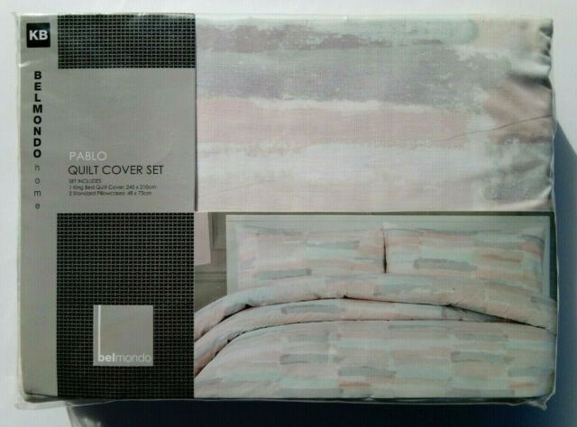 Belmondo Home Pablo King Bed Quilt Cover Set - Multi Coloured Brand New RRP $129