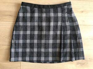 afdfa07725 OASIS Grey Checked Plaid Mini Skirt Faux Leather Trim Size 12 VGC ...