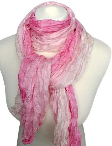 femininer Knitterschal 100/% Seide rosa weiß Crashschal  Damen Schal 730
