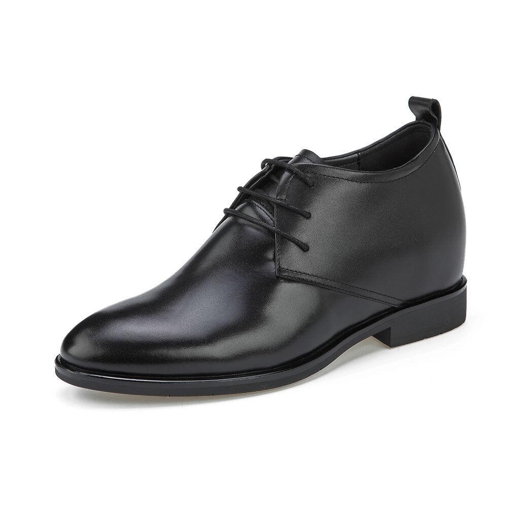 Ekn21, 3,5 pulgadas de altura cada vez más LLANO TOE Derby Pioneer hombres Zapatos, Semi Brillo