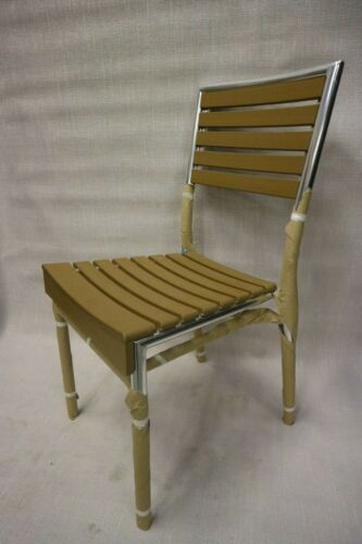 Wood-look side chair with metal frame