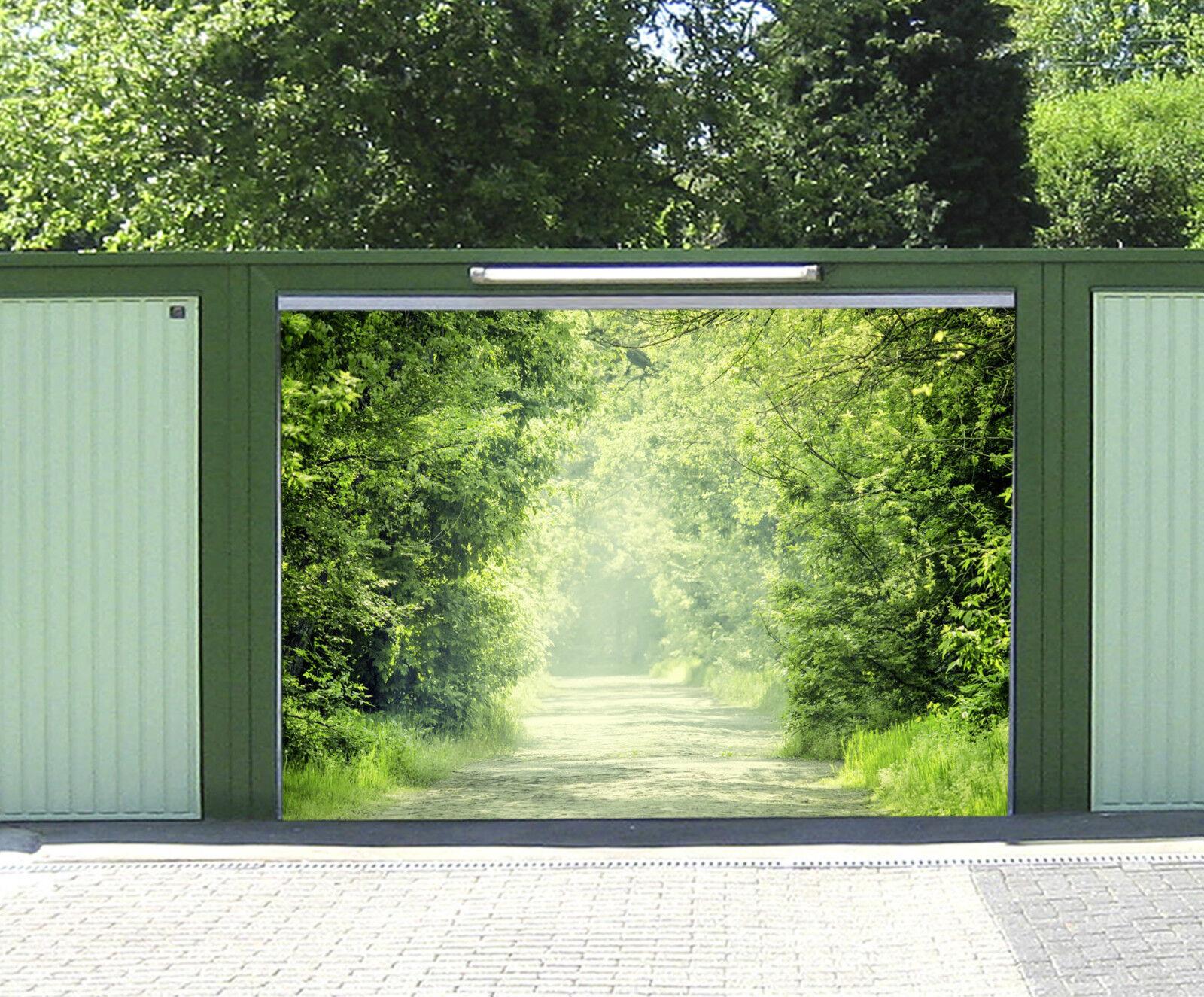 3D Route Ensoleillement Garage Porte Peint en Autocollant Murale AJ WALLPAPER FR