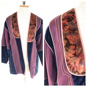 Vintage-VTG-70s-1970s-Opus-1-Purple-Velvet-Floral-Open-Jacket-Coat