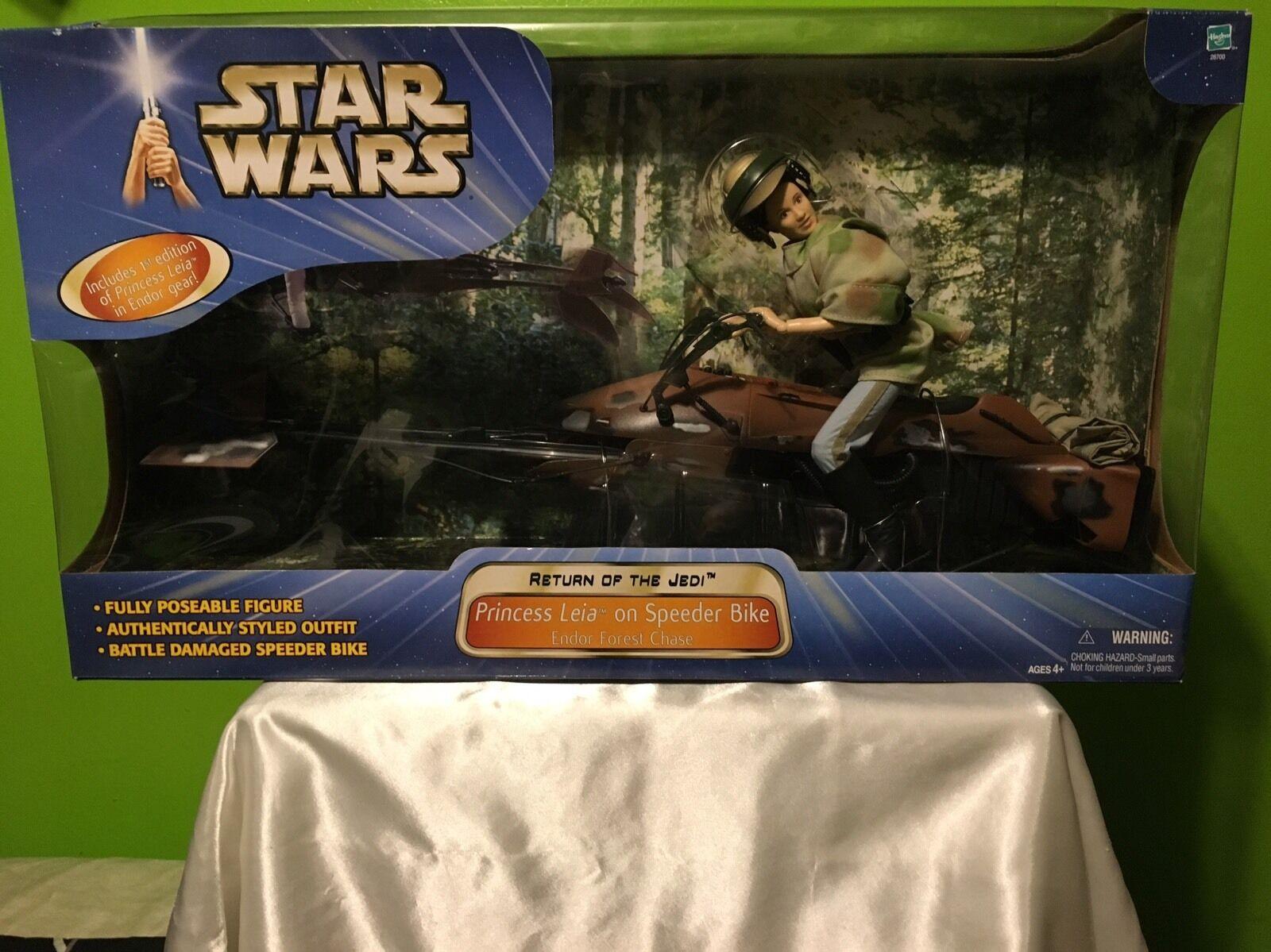 Nuevo sin abrir Star Wars Princesa Leia En Speeder Bike 12 Figura De Hasbro