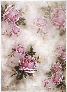 Rice Paper for Decoupage Scrapbook Craft Sheet A/3 Pink
