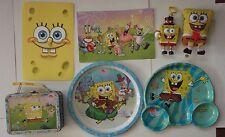 SpongeBob Squarepants lunchbox, plates, Burger King toy, backpack toy, postcards
